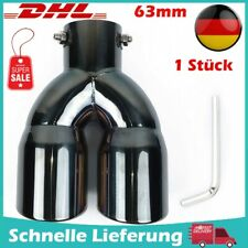 63mm Edelstahl Auto Universal Auspuff Blende Doppelendrohr Rohr Endrohre Pipe DE