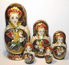 "matryoshka ,5 dolls, Palekh, painted,7,8"",babushka,gold decoration,by artist"