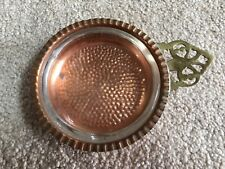 Vintage Copper Craft Guild Ashtray Copper with Glass Insert & Handle