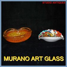(2) MURANO Vintage ITALIAN ART GLASS BOWLS Rainbow OPALESCENT APRICOT Silver