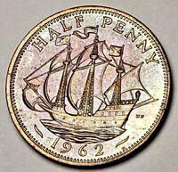 1962 QUEEN ELIZABETH II BU UNC UNITED KINGDOM HALF PENNY NICELY COLOR TONED COIN