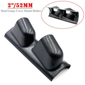 "2""/52mm Carbon Fiber Look Car A Pillar Pod 2 Hole Gauge Meter Cover Mount Holder"