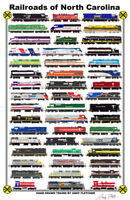 "Railroads of North Carolina 11""x17"" Railroad Poster by Andy Fletcher signed"
