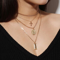 Sexy Ladies Catholic Religious Virgin Mary Gold Plated Pendant Necklace Jewelry