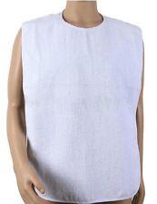 100PK ADULT TERRY COTTON CLOTH BIB DISABILITY W/ HOOK & LOOP NECK CLOSURE WHITE
