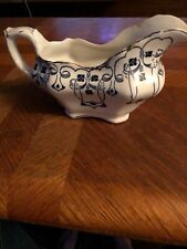 BUFFALO ART POTTERY CHINA  BLUE LUCERN HANDLED OVAL GRAVY BOAT