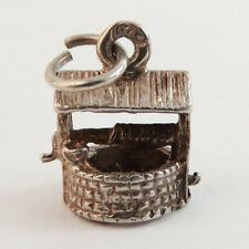 Vintage Bracelet Sterling 925 Silver Charm, Wishing Water Well, Good Luck