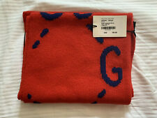 Gucci Mens Wool Scarf GG Blue Red 455941 3G206