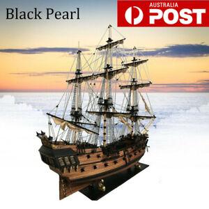 Black Pearl Ship Assembly Model DIY Kits Wooden Sailing Boat Toy Xmas Decor Gift