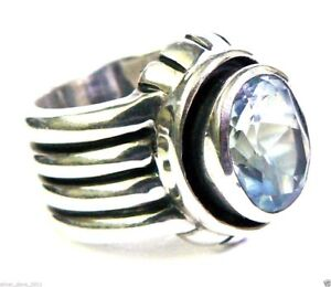Silpada, .925 Sterling Silver Aquamarine Ribbed Ring Wide Band Sz 7