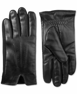 Isotoner Men's Winter Gloves Black Size XL Stretch Leather Touch Screen $80 #378