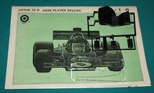 Lotus 72D Entex 1/8 J.P.S. F1 Car Instructions Clear Parts Seat.