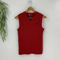 Chaps Ralph Lauren Boys Pullover Red Cableknit Sweater Vest Size L 14-16 V-neck