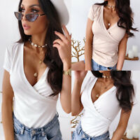 ❤️ Womens V Neck Short Sleeve Casual T Shirt Top Ladies Summer Solid Slim Blouse