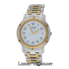 Authentic Men's Hermes Clipper CL6.720 Solid 18K Gold & Steel 36MM Quartz Watch