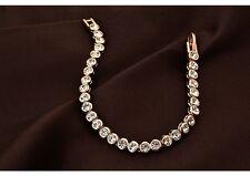 Tenis Pulsera cadena de brazo BRAZALETE 18k Oro Rosa CARBURADOR 17cm Cristales