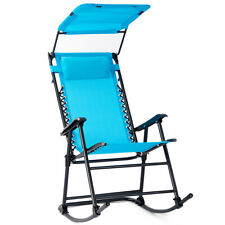 Folding Rocking Chair Rocker Porch  Zero Gravity Furniture W/ Canopy Light Blue