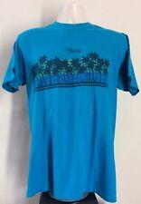 Vtg 80s Hawaii T-Shirt Teal Blue M/L Hanes 50/50 Palm Trees Souvenir Tourism