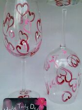 2 Hand-Painted Pink and Red Hearts for Valentine's Wine Glasses