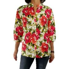 JONES NY SPORT WOMAN 1X spring floral print hibiscus linen flax blouse ¾ slv top