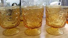 6 Vintage / Retro Amber Pressed Glass Lemonade / Water Glasses
