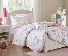 PARIS 6pc Twin  COMFORTER SET : GIRLS PINK FRENCH STYLE EIFFEL FRANCE BED IN BAG