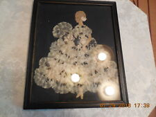 Vtg Framed Ribbon Doll Covered With Fan Shaped Ruffles And Glitter