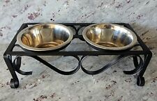 Decorative Feeder Raised Bowl Dog Cat (2) Black Scroll Ornate Wrought Iron