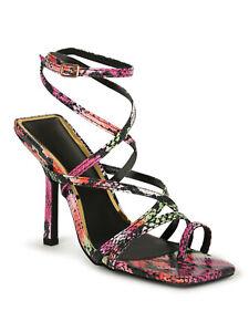 Liliana Double Square Split Toe Strappy Heels 20292