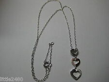 NECKLACE WITH THREE HEARTS & 0.75ctw CUBIC ZIRCONIA IN 925 STERLING SILVER
