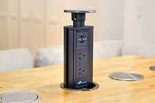 V2SBSS Black Australian Pop Up Power Point Socket Plug USB Kitchen Desk
