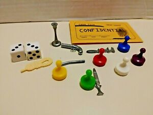 Set of 6 CLUE Board Game Replacement Weapons, 6 Pawns, 2 Dice and envelope.