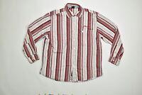 Men's Phat Farm Button Down/ Button Up Regular XL Red Striped Long Sleeve Cotton