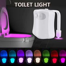 LED Motion Toilet Night Light Bowl Seat 8 Colors Body Sensing Automatic Bathroom