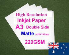 180 sheets A3 220GSM Inkjet / Laser Double Side Matte Photo Paper
