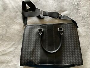 Coach Mens Black And Grey Herringbone Leather Briefcase