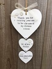 Personalised Wooden Plaque Sign Heart Wedding Mum In Law Thank you Gift Present