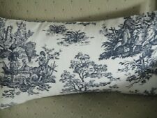 """HANDMADE COLONIAL TOILE,  Lumbar Decorative Accent Throw Pillow Cover-12"""" X 20"""""""