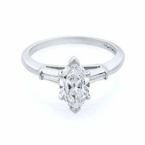 Rachel Koen Platinum Marquise 1.15cttw Diamond Engagement Ring SZ6