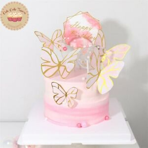 ⭐6pcs DIY Cake Decoration Happy Birthday Pink Theme Butterfly Paper Cake Topper⭐