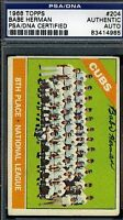 Babe Herman Cubs Signed Psa/dna 1966 Topps Certified Authentic Autograph
