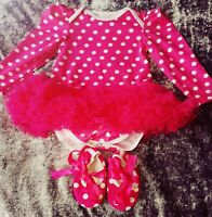 New Baby Girls Age 12-18 Month party Tutu Dress With Shoes Romany Spanish Style