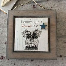 East Of India Hanging Plaque Happiness Just a Biscuit Away Dog Doggy Fun Gift