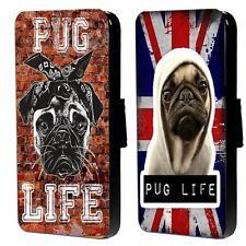 Funny Pug Life Gangster Dog Flip Wallet Phone Case for Samsung Galaxy S Range