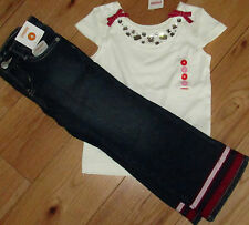 Gymboree Poppy Love gem top with bows & ribbon jeans NWT 4 4T off-white red