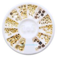 1 Box 3D Nail Art Gold Circle Triangle Diamond Shape Design Charms DIY Manicure