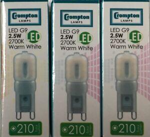 3 x CROMPTON LED G9 2.5W WARM WHITE 210 LUMENS 3145 2700K 6000 HOURS