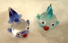 Hand Blown Glass Fish Lampwork Art Glass Set of 2