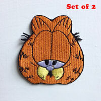 Garfield Animated Cartoon Art Badge Iron or sew on Embroidered Patch Set of 2