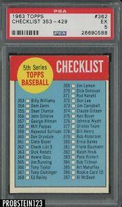 1963 Topps #362 Checklist 353-429 PSA 5 EX